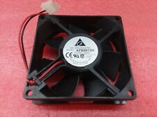 (1) DELTA AFB0812H 12V .24A 2-PIN BRUSHLESS DC FAN 80MMx80MMx25MM