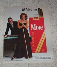 1985 ad page - More Cigarettes - SEXY Girl playing Billiards Pool game ADVERT