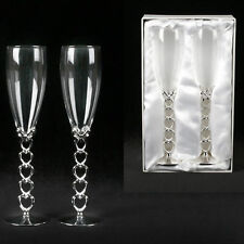 Personalised Heart Stem Champagne Flutes Engraved Wedding, Engagement Gift.