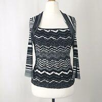 Joseph Ribkoff Black & White Striped Sequin Stretchy Front Top UK Size 12