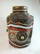 Antique Folk Art Memory Jug Various Jewelry Beads