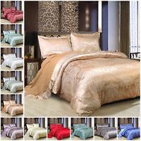 Luxury 4 Piece Silk Satin Jacquard Bedding Set Double King Duvet Cover + Pillows