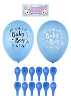 12 Baby Boy Balloons - Latex Helium Air Party Decoration Print Shower Blue