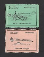 Germany ROCKET MAIL stamps 1960 Chinese & Bicycle rocket EZ 15A1 & A2