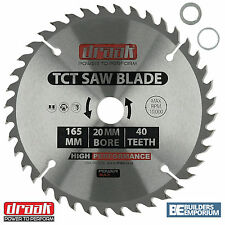 Draak 165mm x 20mm Bore 40 Tooth TCT Circular WOOD Saw BLADE Makita Bosch