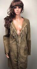Womens Karen Millen Brown Tan Leather Coat Jacket Knee Leanght Size 12