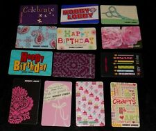 13 Collectible Gift card HOBBY LOBBY Craft Store Birthday Lot No Value NEW <2010