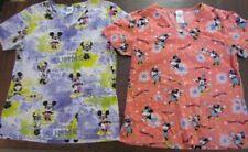 Womens Scrubs Lot Size S Scrub Disney Minnie Mickey Medical Character Nurse Two