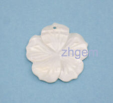 1pcs 25mm white shell flower carved natural sea water mother of pearl shell