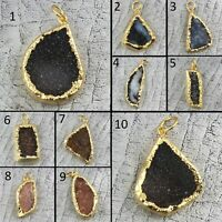Natural Window Drusy Quartz Gold Plated Sugar Druzy Handmade Necklace Pendant