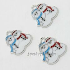 15pcs White Blue Red Enamel Christmas Snowmans Charms Alloy Pendant Decorative J