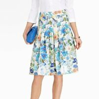Talbots Floral Pleated A-line Skirt Spring Garden Tea Party Gorgeous Size 14