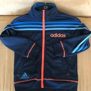 Adidas Boys Jacket full zip track dark blue bright orange Size 5 *Read