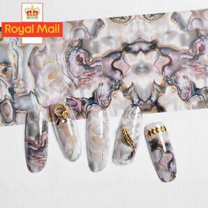 MARBLE PEARL Nail Art Foil Transfer Stickers 3D Nails Manicure Foils UK SELLER