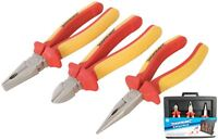 Silverline 3pc Insulated VDE Plier Set Long Nose Side Cutter Combination Pliers