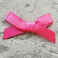 Hot Cerise Pink Small Mini Satin Ribbon Bows Ready Made 7mm Wide Art Craft Sew