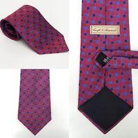 """CROFT & BARROW Hand Made Silk Tie Men's Red Navy Blue Slate blue Necktie 59"""" X 4"""