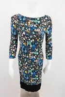 Boden Women's Midi Dress US sz 4 UK 8 Floral 3/4 Sleeve Straight Fitted Viscose