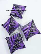 Purple Color Traditional Star Design Pattern Set Of 4 Pcs Cushion Cover Indian