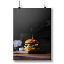 Tasty, Yummy Hamburger, Lunch, Fastfood A0 A1 A2 A3 A4 Satin Photo Poster a3070h