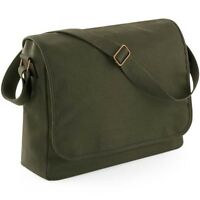 Olive Green Canvas Messenger Shoulder Bag School College Student Mens Mans