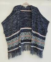 Jolt Sweater Kimono Blue Aztec Style Fringe Women's Size Large...FLAW
