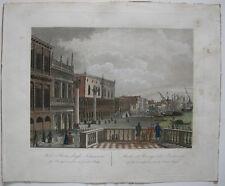 Molo e Riva degli Schiavoni Venezia italia Kolor ORIG aquatinta Lazzari 1820