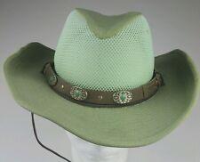 Godfrey's Hand Made Australian Hat Leather Concho Bead Band Drawstring Mesh Top