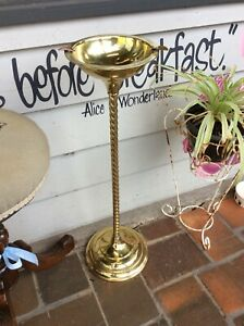 Vintage Solid Brass Barley Twist Ashtray Stand - REDUCED