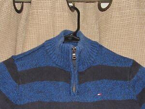 TOMMY HILFIGER boys size 7 1/4 zip sweater blue stripes excellent cotton