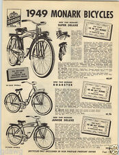 1949 PAPER AD Monarrk Bicycle Auper Deluxe Roaster Tank Horn