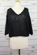 Knitted and Knotted Women's Black Cropped Short Sleeve Linen Blend Sweater Sz XS