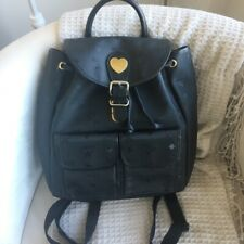 MCM vintage black backpack signature heart classic canvas
