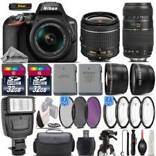 Nikon D3500 24.2MP DSLR Camera + 18-55mm VR Lens + 70-300mm Macro Lens -64GB Kit