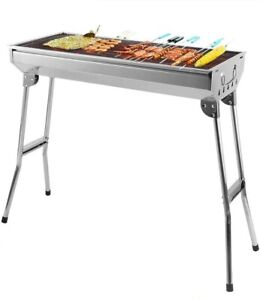 Stainless Steel BBQ Grill Folding Portable 5-10 Person Barbecue Grill With Vents