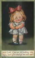 Drayton? Little Girl Wants to be a Boy Praying c1910 Postcard