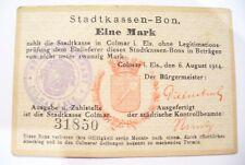 ANCIEN BILLET RARE - STADTKASSEN-BON  COLMAR  1914 - EIN MARK