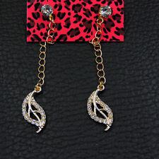Betsey Johnson Crystal Enamel Leaf Charm Ear Stud Women's Earrings