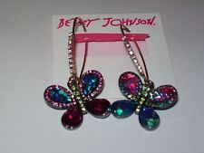 NWT Betsey Johnson Colorful Mismatch Butterfly Dangle Earrings