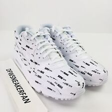 Nike Air Max 90 PRM Men s 12 White Classic Black Print Logo Shoes 700155  103 New 9932ea791