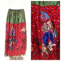 Vintage VTG 40s 1940s Sequined Patterned Costume Maxi Skirt
