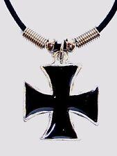 New MALTESE CROSS IRON CROSS  BLACK INLAY PEWTER PENDANT CORD NECKLACE