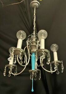 VTG DECO PERIOD FRENCH  CRYSTALS SILVER CHANDELIER CEILING FIXTURE 1920's