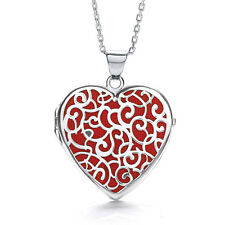 Sterling Silver Red fabric Heart Shaped J-Jaz Locket on adjustable 18 inch chain