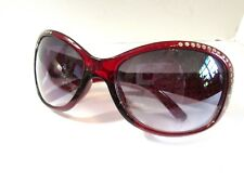 SUNGLASSES DARK RED PLASTIC GRAY COLOR LENSES WITH FANCY RHINESTONE ACCENTS