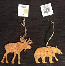 SET Natural CORK animal MOOSE & BEAR ornament pair SAGE & Co