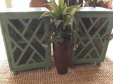 NEW PAIR Creamy-Green rastic painted  Wood Side Table Stand  Cabinet