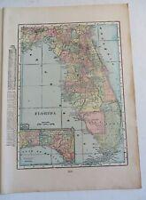 """Antique 1906 Color Map Florida Texas  11"""" X 16"""" #4141"""
