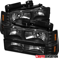 94-98 GMC C10 Sierra Yukon Black Clear Headlights+Corner Bumper Lamps Head Lamp
