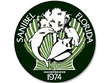 4x4 inch ROUND Sanibel Island City Seal Sticker -logo beach sanctuary Florida fl